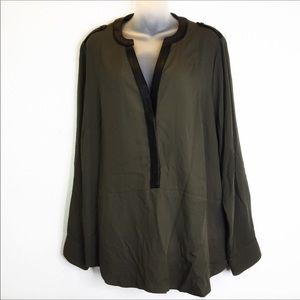Lane Bryant Olive Green Black Faux Leather Top